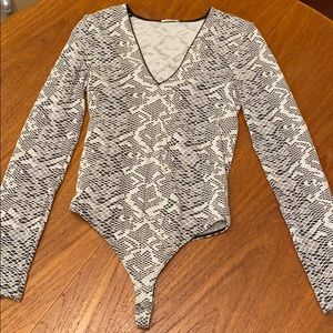 Snake skin design/ lace looking thong body suit
